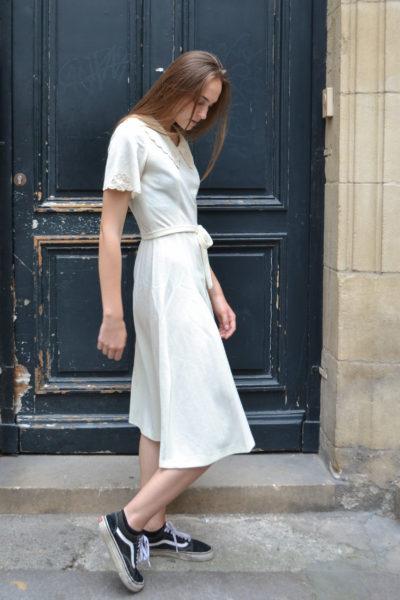Robe brodée vintage 60's - T36
